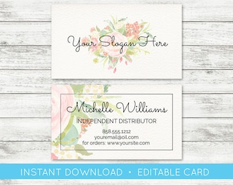 EDIT YOURSELF, Editable Business Card, Essential Oil Business Card, Business Card Template, Printable Marketing Materials, Templett, Instant