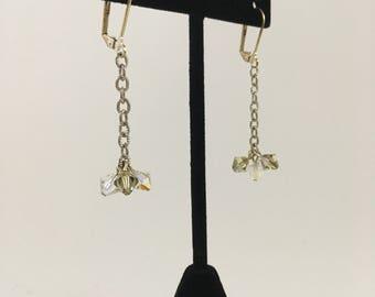 Swarovski Crystal Drop Earrings clear and smoky green