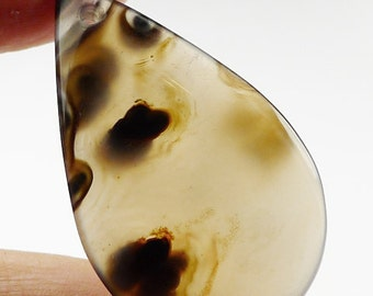Patterned Agate Pendant Bead - 38x23x5mm