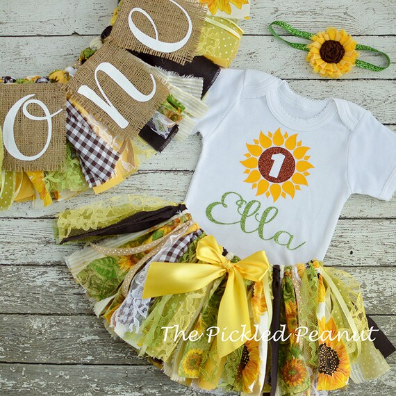 Sunflower 1st Birthday Girl Outfit Amp Birthday Banner Birthday