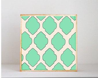 boho nursery art -moroccan trellis- 5x5 art block-  gender neutral geometric wall art- nursery decor-redtilestudio, safari nursery art