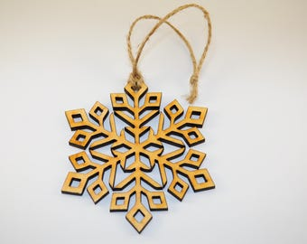 Wooden snowflake ornament decor christmas laser cut holiday rustic shapes winter hanging large unfinished label crafts modern unpainted