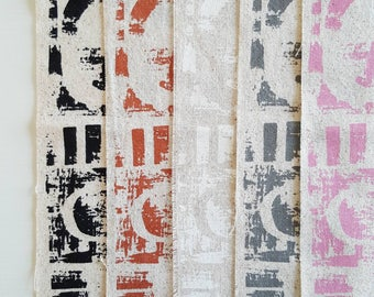 Collage hand screen printed fabric bundle for patchwork & sewing in black copper soft pink white and soft grey pack of 5