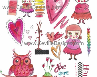 Valentine's Day Love Hearts Folk Art Girls Collage Sheet by Ceville Designs