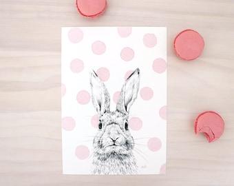 Bunny Print With Pink Polka Dots - Modern animal print of a bunny rabbit. Pencil and watercolor art