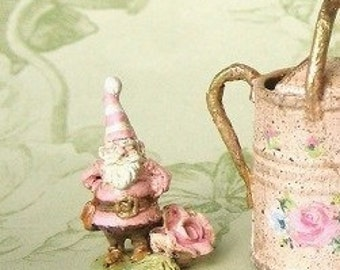 Ready Send - Pink Fairy Garden Gnome Elf - Hand-painting Sculpted rose - Antiqued Jill Dianne - Dollhouse Miniature.