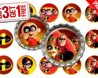 Incredibles Bottle Cap Images - 1 inch size - Suitable for Hair Bows, Magnets, Scrapbooking, Stickers etc - High Resolution Images