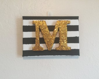 5x7 Glitter Letter Canvas