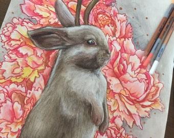 Print // jackalope // gift ideas // bunny art
