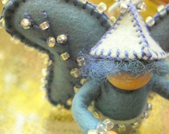 Blue Boy Wool Felt Fairy, Peg Doll Fairy, Waldorf Inspired, One of a Kind, Miniature Fairy Peg Doll