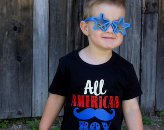 kids - 4th of July - bodysuit - boy - baby - toddler - shirt - fun - red white and blue - tshirt - unisex - mustache - gift for baby