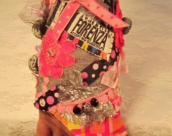 In the Pink-OOAK Embellished Fiber Cuff Bracelet