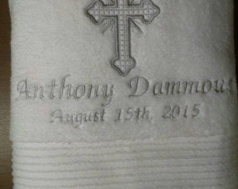 Personalized Baptism Towel with Cross
