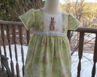 Girls Easter dress, embroidered bunny spring dress,  portrait dress, size 2T, ready to ship