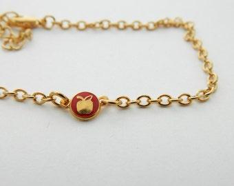 Tiny Apple Bracelet - Red