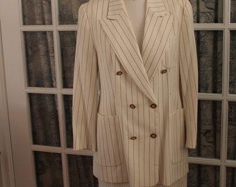 1980's White Pinstripe Power Suit