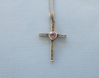 Vintage Sterling Silver Cross - Marcasite Cross - Amethyst & Marcasite Cross - Cross Necklace - Pendant Necklace - Religious Jewelry