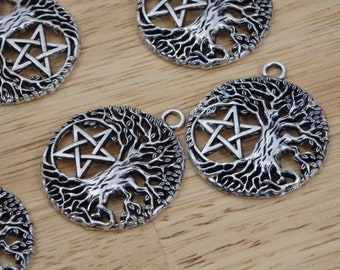 """Tree of Life Pentagram Pendants / Charms, Silver Tone 1.25"""" (pagan, wiccan, witch, witchy goth, magic magical necklace, star, leaf pentacle)"""