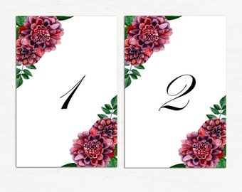 Wedding table number cards Boho wedding decor ideas Table cards dahlia Printable table number chrysanthemum Flowers table numbers 1W19
