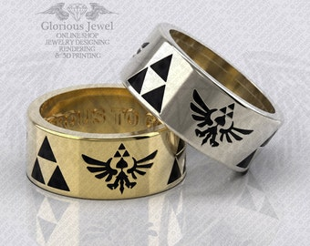 Glorious Legend of Zelda triforce Hyrule Warriors inspired ring with enamel OOAK / 925 silver / 14K Gold / Custom made / Made to Order