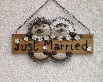 hedgehogs Just Married sign
