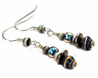 Paper Bead Earrings, Silver Metal Accent Beads, Artistic Style, Pretty, Colorful Earrings, Blue, Friendship Gift Ideas, Earrings Under 20