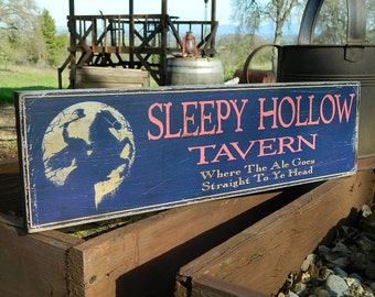 """Distressed Primitive Country Wood Sign - Sleepy Hollow Tavern 5.5"""" x 19"""""""