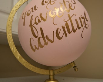"Hand Painted 12"" Wedding Globe, Shabby Chic, Gold Hand Lettering -- Custom Made To Order"