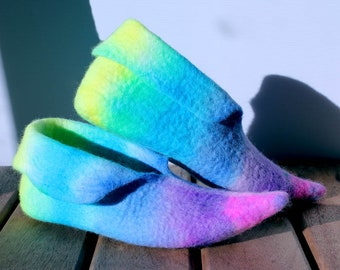 Rainbow Pixie Slippers, Handfelted House Shoes