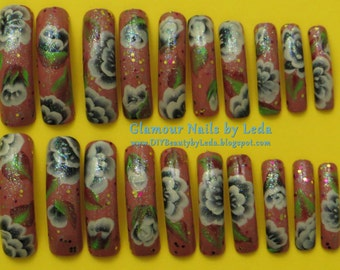 20 Full Well Extra Long Square Nails Autumn Sparkle One Stroke Flowers & Glitter