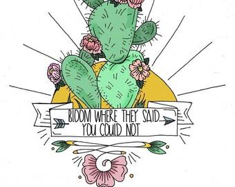 """Illustration """"Bloom"""" Framed & Matted Print"""