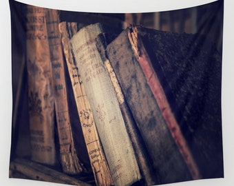 Old Books Tapestry, Antique Book Tapestry, Book Large Wall Decor, Library Photo Tapestry, Office Decor, Office Tapestry, Vintage Books Decor
