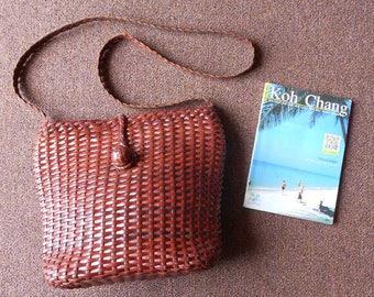 SALE ! Vintage Woven Leather Bucket Bag , Crossbody Bucket Bag / Small / Handmade
