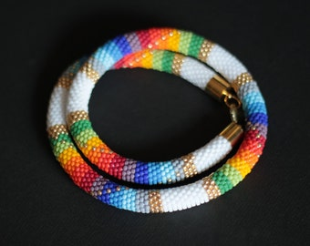 Beaded Rainbow Necklace, Chunky Rope Necklace, Colorful, White and Gold Necklace, Bead Crochet Necklace, Colorful Patchwork - MADE TO ORDER