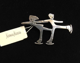 925 Silver Ice Skaters Pin, Signed Cristina
