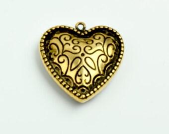 Heart Pendant, open heart shape 36mm 2 sided,  pack of 6 --09513AG