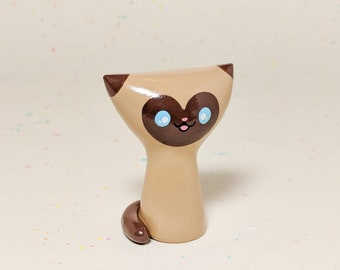 Siamese Kitty Figurine - Miniature Clay Cat Collectible