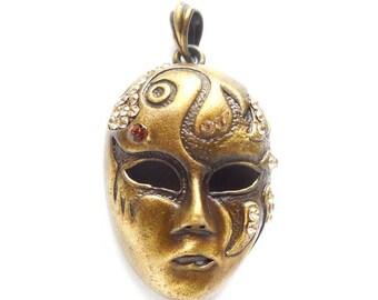 1 Antique Bronze Face Mask Focal Pendant/Charm - 21-50-5
