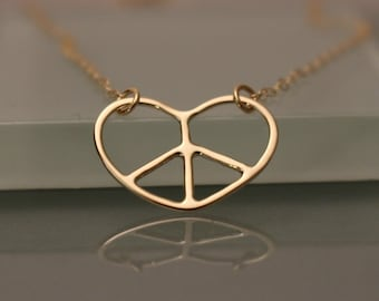 14k Peace Heart Necklace, 14k Peace Necklace, 14k Peace love necklace, 14k Gold Peace Necklace, 14k Peace Charm Necklace, 14k layering