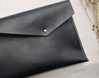 Asymmetric leather black hand dyed clutch bag, leather bag, ipad case, tablet holder, black clutch, envelope purse.  Made in england