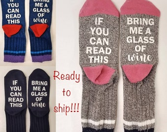 If You Can Read This Sock | Funny Mother's Day Gift | Wine Socks | Bring me Wine | Wine Lover Gift | Mom Gift | Birthday Gift | Funny Socks