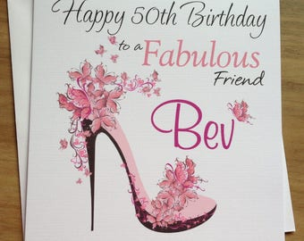Handmade Personalised Butterfly Shoe Birthday Card Granddaughter , Wife , Friend , Daughter 18th 21st 30th 40th 50th