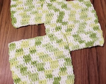 Washcloth, Set of 3 Green Handmade Washcloth Set- Handmade washcloth- Crocheted Washcloth-  100% Cotton Washcloth- Handmade Washcloth