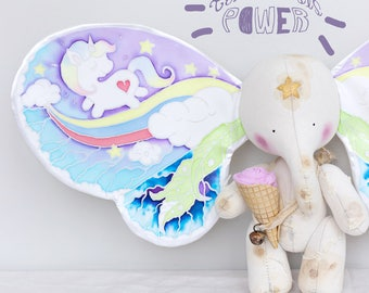 MAKE TO ORDER, Telekinesis Butterfly Elephant , Art Collectible Toy, Magic Elephant,  Butterfly Wings Elephant, Butterfly Wings, Fairy Tale