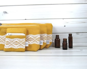 Essential Oil Case Set, Essential Oil Bag Set - CHARLOTTE in Honey - linen and lace cosmetic bag zipper pouch oils oil storage clutch