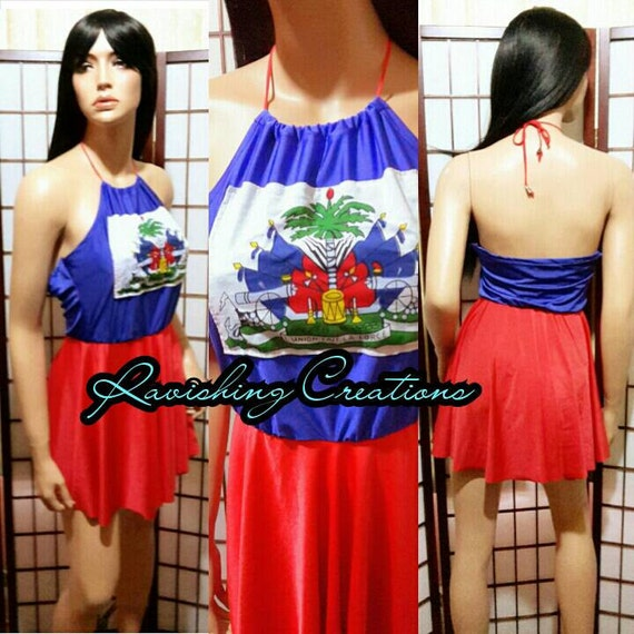 Haitian Flag Dress Flag Day Outfit Carnival Dress Party Dress
