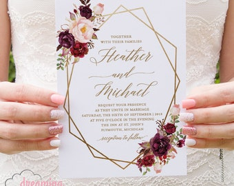 Boho Floral Geometric / Geometry Wedding Invitation Set - Marsala Burgundy and Pink Flowers with choice of color Geometry