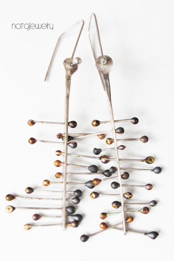 Preferred Big organic modern sterling silver dangle earrings Statement QW05