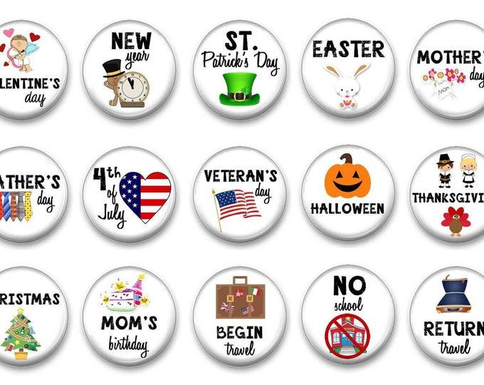 Holiday Calendar Magnets - Classroom Calendar - Chalkboard Magnets - Calendar Magnets - Educational - Preschool Learning - Teacher Gift