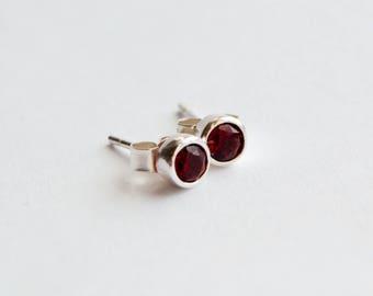 Sterling Silver Garnet Stud Earrings, January Birthstone Earrings